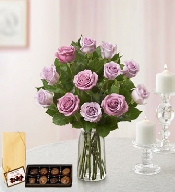 Dozen Lavender Roses and Chocolates