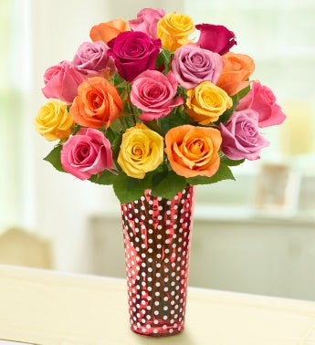 18 Stem Assorted Roses + Free Vase & Chocolate