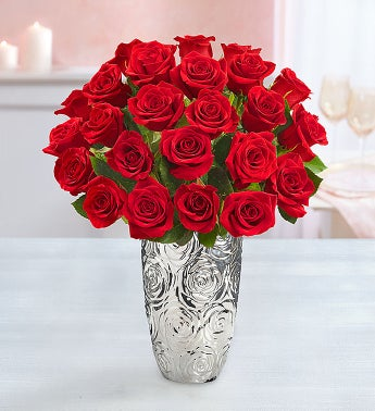 Two Dozen Red Romance Roses