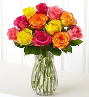 12 Assorted Roses with Rakhi