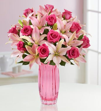 Pink Rose & Lily + Green Hobnail Vase for $49.99 at 1800flowers.com
