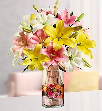Personalized Vase with Sweet Spring Lilies