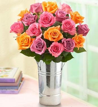 18 Sorbet Roses + Free Vase