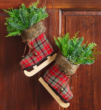 Vintage Holiday Skates with Fresh Evergreens