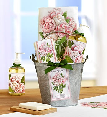 Cottage Flowers Rose Kitchen Spa Gift Bucket
