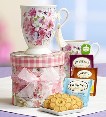 Radiant Roses Tea & Shortbread Gift Tower