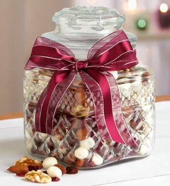 Premium Cranberry Nut Snack Mix in Cut Glass Jar