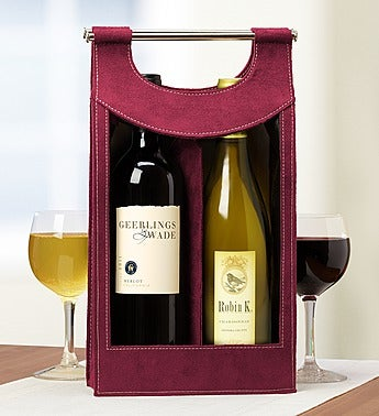 Red & White Wine Pairing in Burgundy Wine Tote