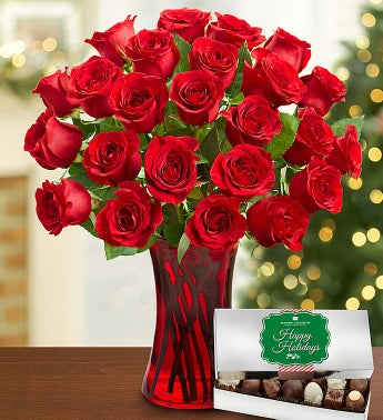 Festive Red Roses, 24 Stems with Chocolate