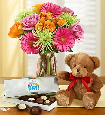 Vibrant Blooms with Bear + Free Chocolate