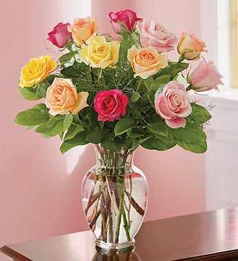 Twelve Assorted Long Stem Roses