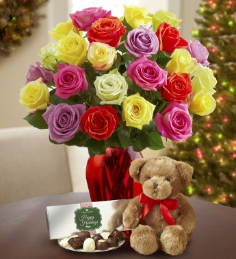 Holiday Lights Roses with Bear & Chocolate
