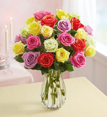 Assorted Roses, Buy 12 Get 12 Free + Free Vase