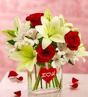 I love You Bouquet in a Rectangle Vase
