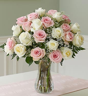 /Two dozen Pink & White Roses