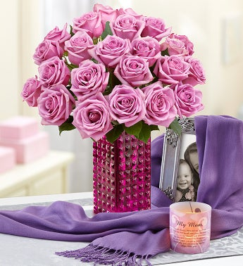 Purple Roses with Mother's Day Candle