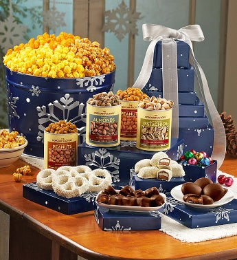 The Popcorn Factory� Snowy Night Tin & Tower