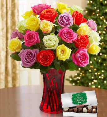 Holiday Lights Roses with Free Chocolate