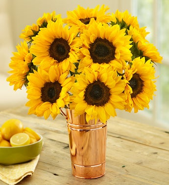 10 Stem Sunflowers + Free Vase