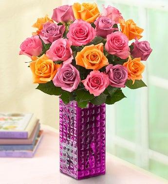 Sorbet Roses, Buy 12, Get 6 Free + Free Clear Vase