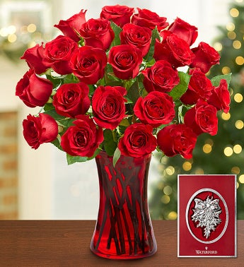 Red Roses with Waterford� Ornament, 12-24 Stems
