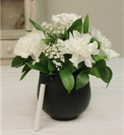 White Carnations in a Chalkboard Vase