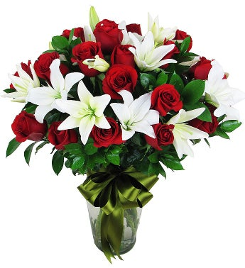 Elegant Red Roses and Lilies