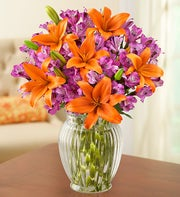 Brilliant Autumn Lily Medley + Free Vase