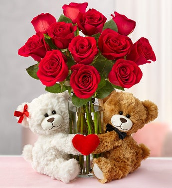 Valentine's Day Roses with Sweetheart Bears