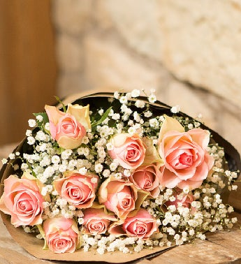 12 Light Pink Roses