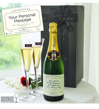 Personalised Champagne & Riedel Flutes