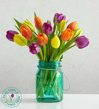 Assorted Tulips with Mason Jar by Real Simple�