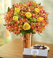 Fall Rose & Peruvian Lily Bouquet + Free Chocolate