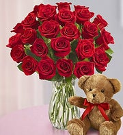 Red Roses with Bear