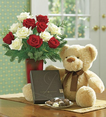 roses with plush bear and Harry London chocolates