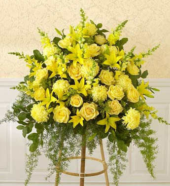 standing yellow sympathy basket