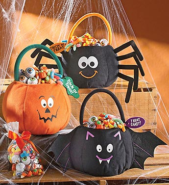 pumpkin, spider, bat, ghost treat bag