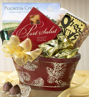 Selection of Gourmet Goodies in a Wooden Bucket