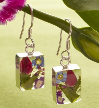 Fresh Mixed Rosebud Rectangle Earrings