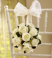 Silk White Rose Kissing Ball