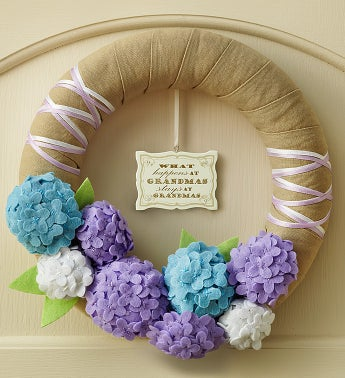 Handmade Hydrangea Wreath with Plaque