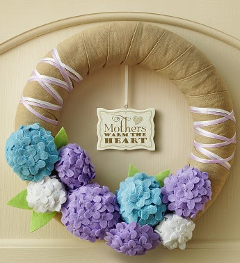 Handmade Hydrangea Wreath with Plaque ? 11""
