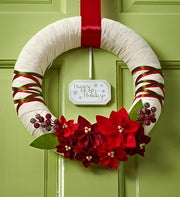 Happy Holiday Poinsettia Wreath-11""