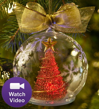 Light Up Ornament Featuring A Red Christmas Tree - Ornament Reviews
