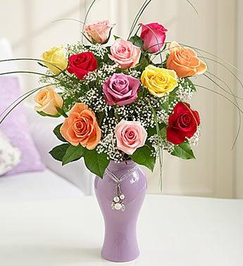 Mom's Favorite Roses in Lavender Ceramic Vase