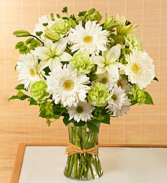 Sympathy Arrangement in White & Green