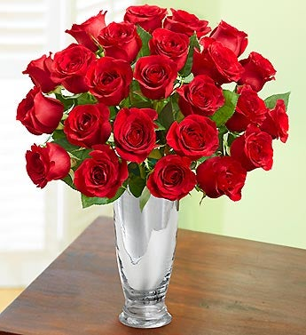 Romantic Red Roses + Free Vase