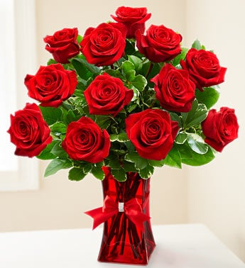 Premium Ruby Red Roses - One Dozen