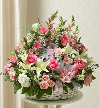 Pink and White Sympathy Arrangement in Basket