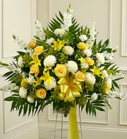 Heartfelt Sympathies Standing Basket - Yellow